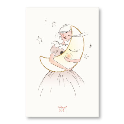 Tendrement Fé - illustration papeterie bohème carte tendre étoile paillettes or collection illustrée aquarelle poétique illustratrice