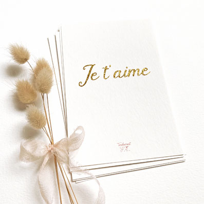 tendrement fé illustration papeterie bohème carte pailletée Je t'aime message paillette or collection les mots pailletés carterie poétique