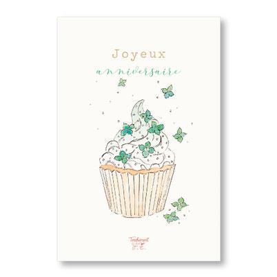 Tendrement Fé - illustration papeterie bohème carte cupcake fleuri paillettes or collection illustrée aquarelle poétique joyeux anniversaire gâteau fleurs fête illustratrice