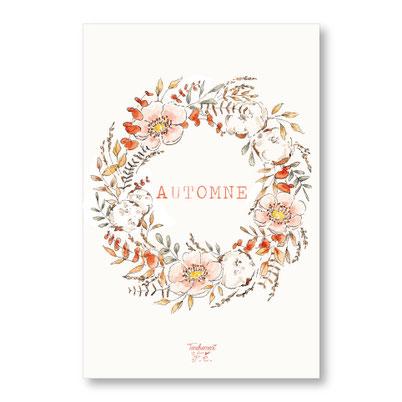 tendrement fé illustration papeterie bohème carte automne couronne de fleurs automne collection aquarelle poétique