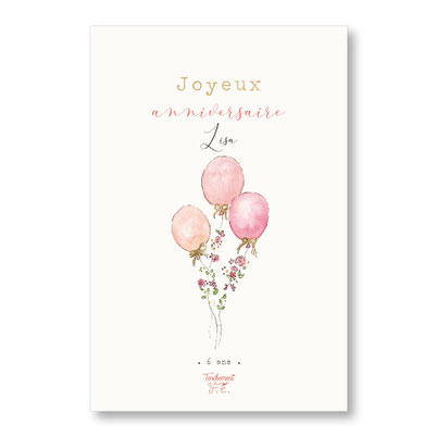 Tendrement Fé illustration papeterie bohème carte ballons fleuris collection illustrée joyeux anniversaire personnalisé fleurs aquarelle poétique