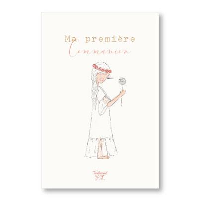 Tendrement Fé - illustration papeterie bohème carte 1ère communion fille collection illustrée aquarelle poétique fairepart cérémonie illustratrice