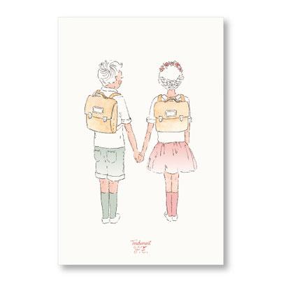 Tendrement Fé - illustration papeterie bohème carte les écoliers collection illustrée aquarelle poétique merci maîtresse illustratrice