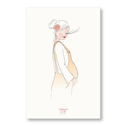 Tendrement Fé - illustration papeterie bohème carte future maman en salopette collection maternité grossesse fairepart aquarelle