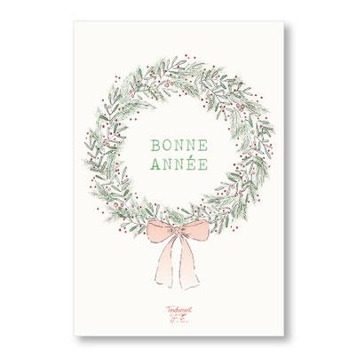 tendrement fé - illustration papeterie bohème carte couronne bonne année meilleurs voeux aquarelle collection Joyeux Noël