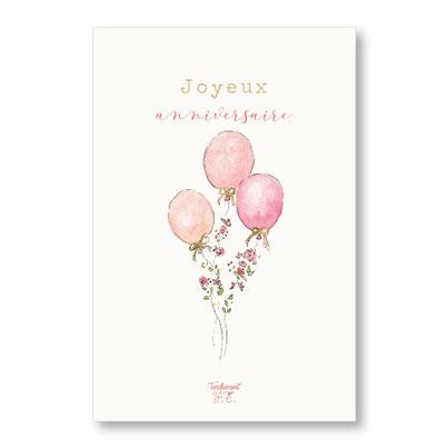 tendrement fé illustration papeterie bohème carte ballons joyeux anniversaire aquarelle poétique carte paillettée or