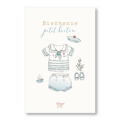 Tendrement Fé - illustration papeterie bohème carte bienvenue petit breton collection illustrée aquarelle poétique fairepart naissance nouveau né bébé jolie layette marin illustratrice