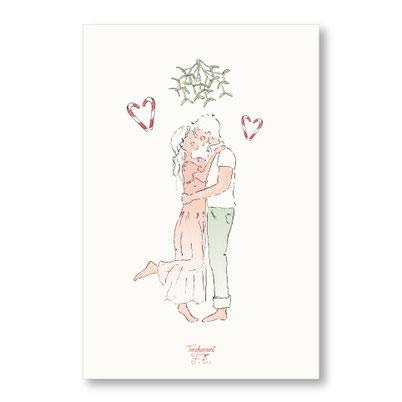 Tendrement Fé - illustration papeterie bohème carte s'embrasser sous le gui joyeux noël bonne année aquarelle collection Joyeux Noël