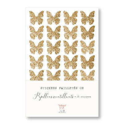 tendrement fé illustration papeterie bohème planche de stickers pailletés or noeuds scintillants paillettes dorées