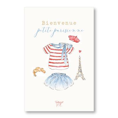 Tendrement Fé - illustration papeterie bohème carte petite parisienne paillettes or collection illustrée aquarelle poétique paris france eiffel tower illustratrice