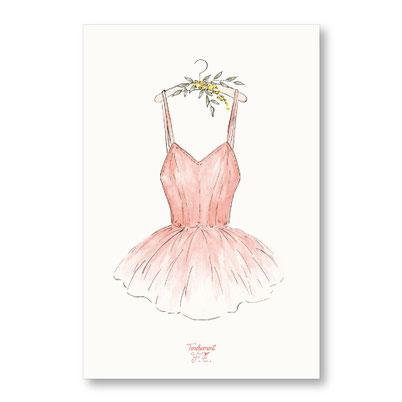 tendrement fé illustration papeterie bohème carte tutu bohème danse classique danseuse fleurs collection aquarelle poétique