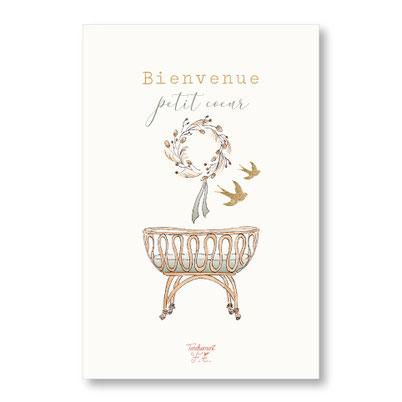 tendrement fé illustration papeterie bohème carte berceau bohème rotin vintage couronne de fleurs séchées hirondelles collection illustrée naissance aquarelle poétique