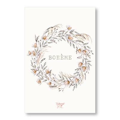 tendrement fé illustration papeterie bohème carte bohème couronne de fleurs de la pampa collection illustrée aquarelle poétique