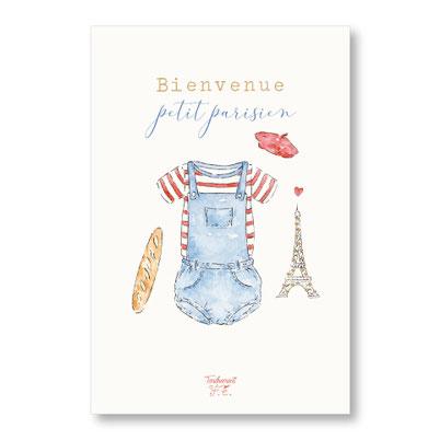 Tendrement Fé - illustration papeterie bohème carte petit parisien paillettes or collection illustrée aquarelle poétique paris france eiffel tower illustratrice