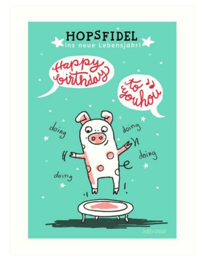 Trampolinschweinchen - Hopsfidel ins neue Lebensjahr – Kunstdruck bei Redbubble – Illustration Judith Ganter - Illustriertes Kopfkino für Alltagsoptimisten - Hamburg Germany