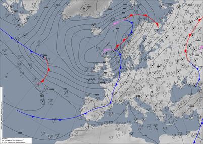 Bodenwetterkarte Trog Westeuropa. | Bildquelle: Deutscher Wetterdienst