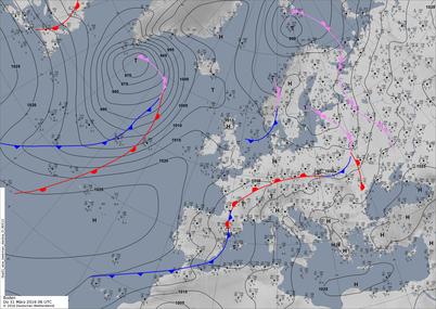 Bodenwetterkarte HNz GWL  | Bildquelle: Deutscher Wetterdienst