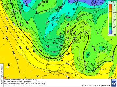 Höhenwetterkarte Trog Westeuropa. | Bildquelle: Deutscher Wetterdienst