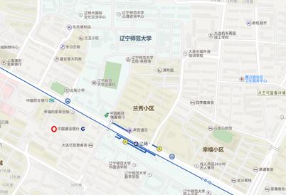 中国留学 大連 遼寧師範大学付近のある銀行の地図 口座開設