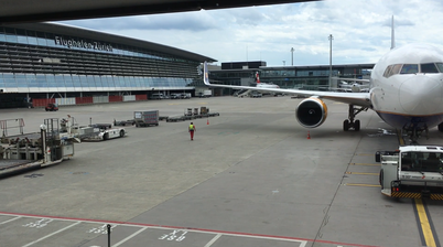 View from the huge windows of Zurich airport