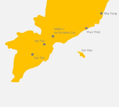 Kartenansicht von Vietnams Süden