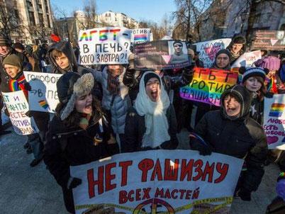 Moskva, januar 2014: Pro LGBT-demo imod Vinter Ol i Sochi