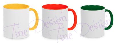 farbige Tassen: hellgelb, rot, dunkelgrün