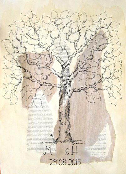 """""""Hochzeitsbaum"""", Mischtechnik auf Papier, ca. 50x40cm, 2015"""