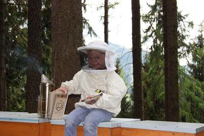 Der kleine Imker mit dem großen Rauchfaß sitzt auf einem unserer steirischen Bienenstöcke