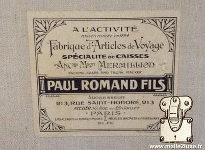 old trunk Paul romand fils 213 rue saint honoré paris