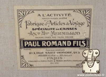 malle ancienne Paul romand fils 213 rue saint honoré paris