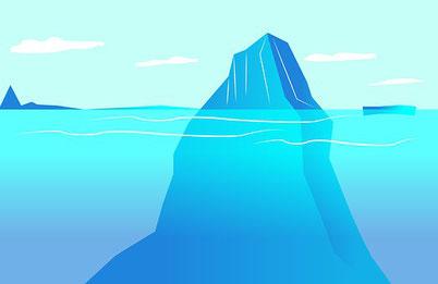Eisberg, Unterbewußtsein unter der Wasserobefläche, Oberhalb nur Bewusstsein,