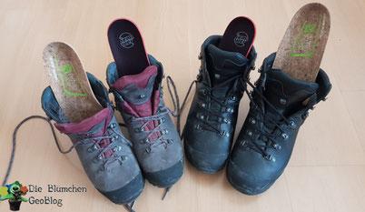 Unsere Schuhe, Sohlen innen (schwarz) vom Hersteller, erst mal ausgetauscht.