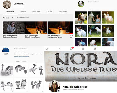 Social Media Kanäle von Nadine J. M. Knauer (Youtube, Facebook, Instagram)