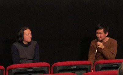 笹谷監督(右)と、評論家金子遊氏(左)とのトークイベント