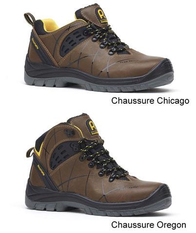 Rouchette, chaussure Chicago et Oregon, les chaussures de protection en cuir