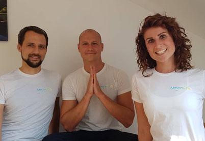 Julius Müller (links), Alexander Rech und Catarina Moj bilden das Magdeburger Energiereich-Team.