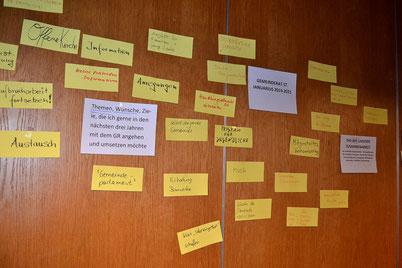 Viele Zettel mit Ideen an der Wand