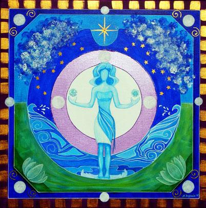 Mandala Lune - Acrylique sur toile (30x30cm - 80€) -  © B. Dupuis