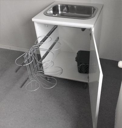 affaldsstativ til køkken en del af affaldssorteringssystem Flower-nu på en udtræksskine! Bedste vælg til dit køkken eller kontor