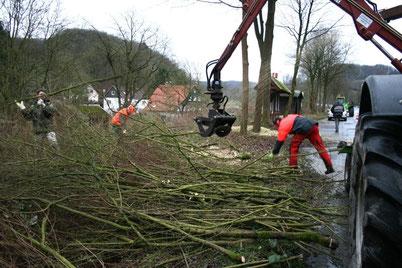 Auftakt der Arbeiten am Bürgerradweg neben der Extertalstraße: am Samstag wurden auf 300 Meter Buschwerk und Bäume gefällt. - © Frevert