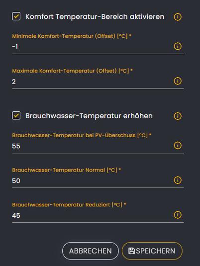 Einstellung des Temperaturbereichs (Warmwasser und Gebäude) für die Wärmepumpe im Solar Manager.