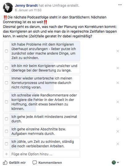 Umfrage Facebook-Gruppe