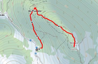 Route vom Parkplatz Bleckwandhütte über die Bleckwandhütte auf die Bleckwand