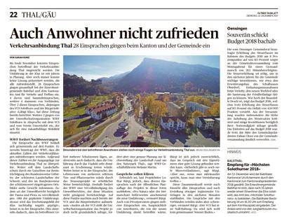"""Oltner Tagblatt vom 12. Dezember 2017 - """"Auch Anwohner nicht zufrieden - Verkehrsanbindung Thal: 28 Einsprachen gingen beim Kanton und der Gemeinde ein"""""""