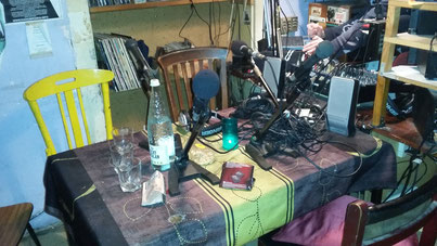 The radio studio of Contra Banda. Simple but comfortable and effective.