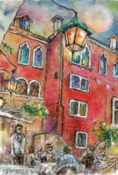 「宵のカフェ (ベネチア)」 SM(227x158mm) 油彩