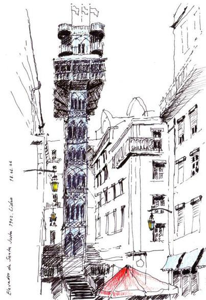 Aufzug von Eiffel, (1902), 2006 (Filzstift koloriert)