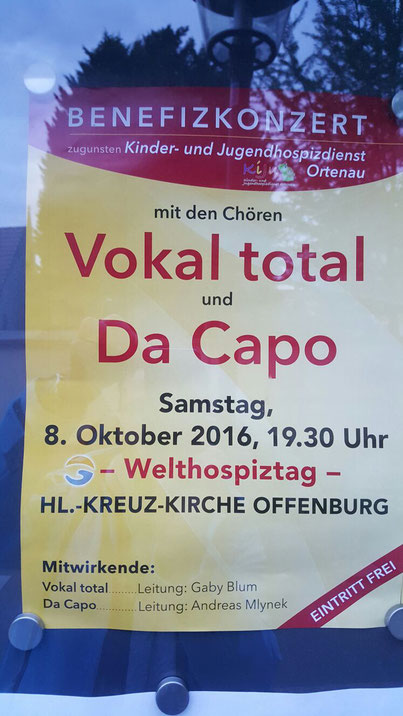 Da Capo und Vokal Total geben ein Benefizkonzert am 8.10.2016 in Offenburg. Foto:privat