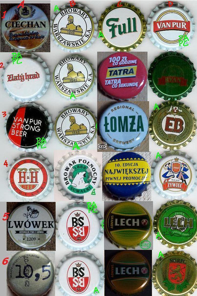 European beer caps, row 1-6 (these are all from Poland).